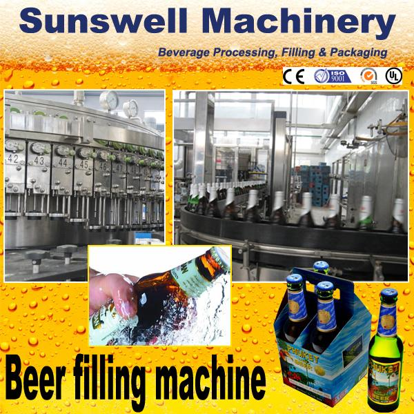 Multi-Head Automatic Beer Filling Machine 3-in-1 Glass Bottle With Rotary Structure