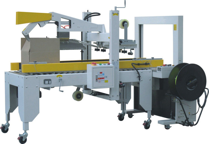 Pneumatic Automatic Cover Folding & Carton Sealing & Strapping Machine For Packaging